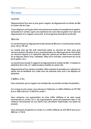 executive summary du modèle de business plan de magasin de déguisements
