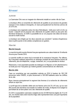 executive summary du modèle business plan de boutique de prêt à porter